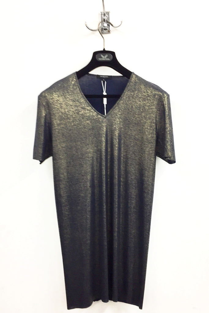 UNCONDITIONAL Gold on dark navy fine ribbed rayon V-neck T-shirt.