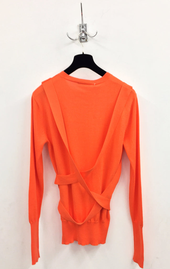 UNCONDITIONAL Fluoro Orange cotton knit crew neck bondage jumper.