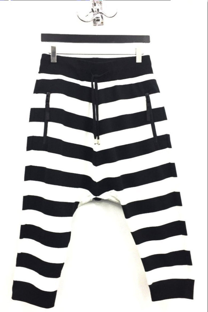 UNCONDITIONAL 3/4 black and white horizontal striped drop crotch shorts - HC1-H-STRIPES