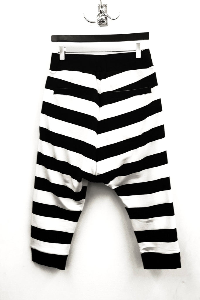 UNCONDITIONAL SS19 Black and White horizontal striped drop crotch 3/4 shorts