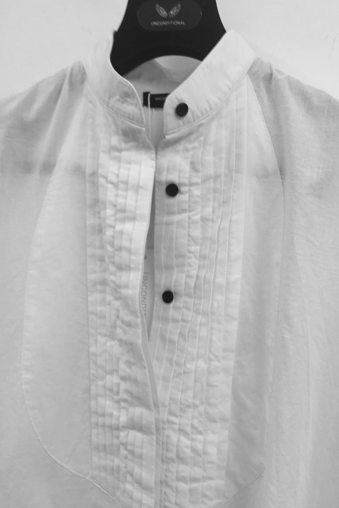 UNCONDITIONAL SS19 optical white cotton voile double bib tunic shirt