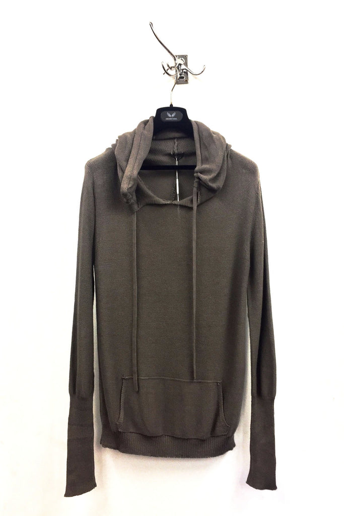 UNCONDITIONAL SS17 Taupe loose knit cotton monk hoodie