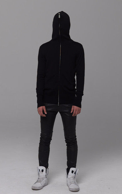 UNCONDITIONAL Black merino full zip up split hoodie
