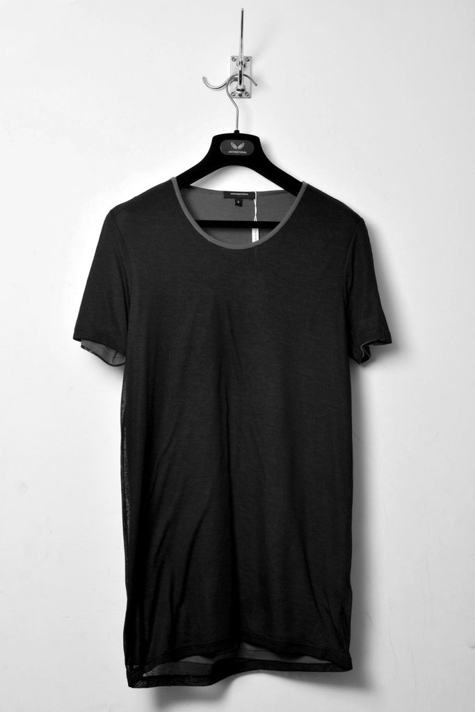 UNCONDITIONAL SS18 Black crew neck T with contrast mesh sleeves