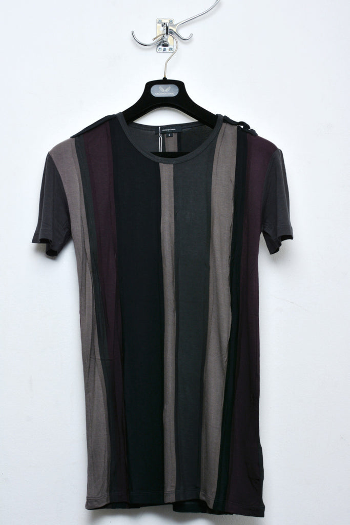 UNCONDITIONAL Grape, tar,  dirt and black , patchwork striped tee with external seams