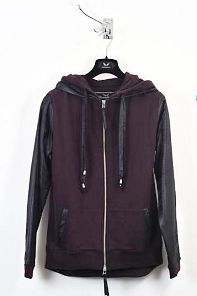 UNCONDITIONAL Grape sweat zip up hoodie with black microfibre layer.