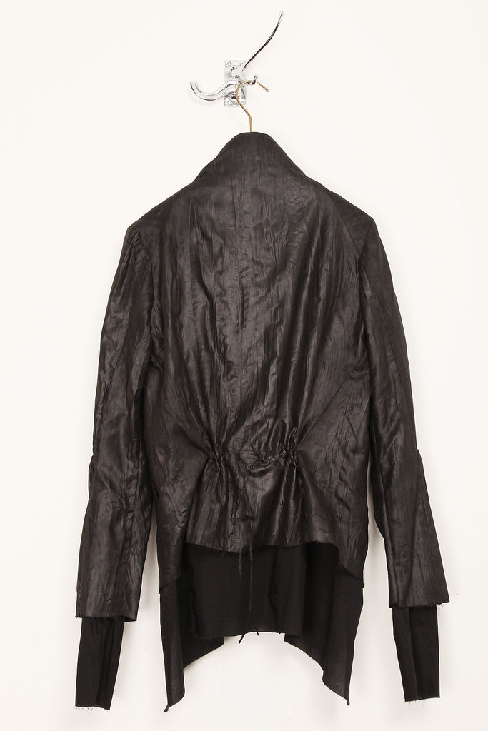 UNCONDITIONAL ladies draped layered black microfibre and voile jacket