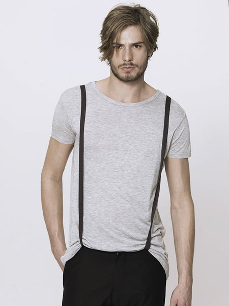 UNCONDITIONAL WHITE SHORT SLEEVED TAIL TEE WITH BLACK BRACES
