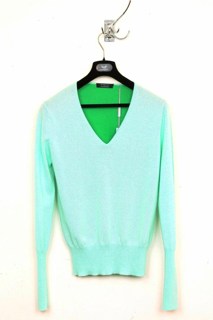 UNCONDITIONAL SS16 NEW mint and leaf green cashmere v-neck jumper with contrast back.