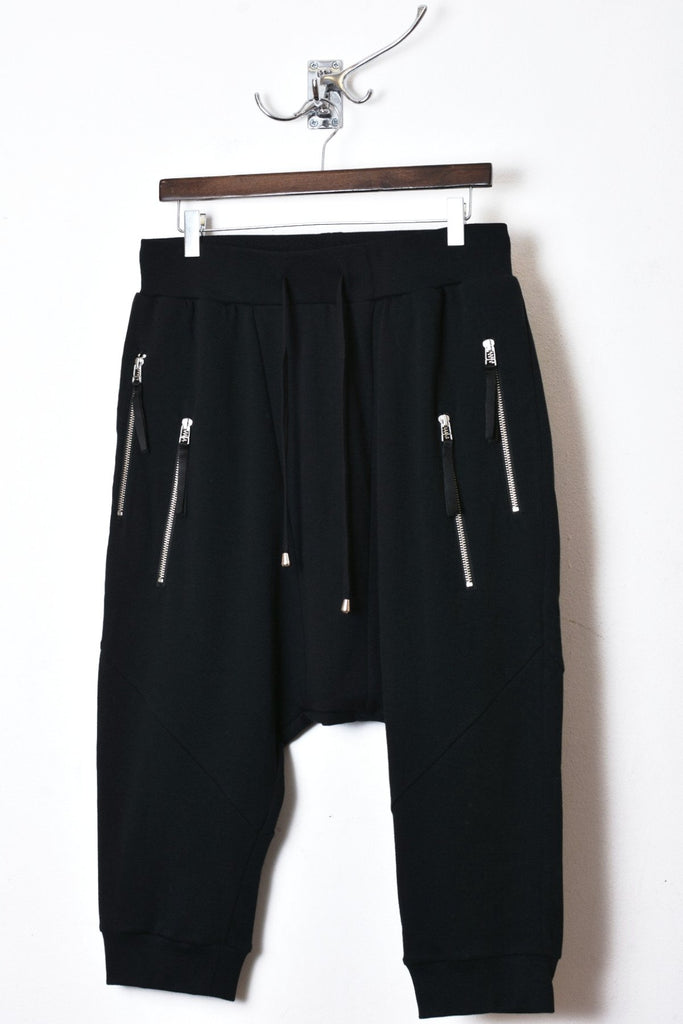 UNCONDITIONAL Black 3/4 harem trousers with double zip pockets