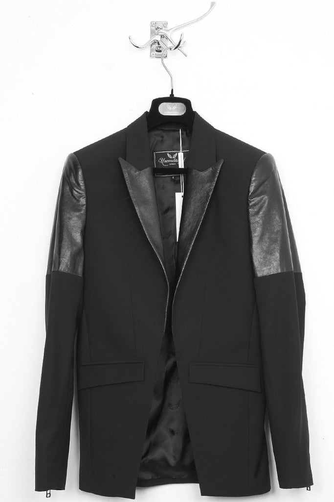 UNCONDITIONAL Black cutaway jacket with leather detailing