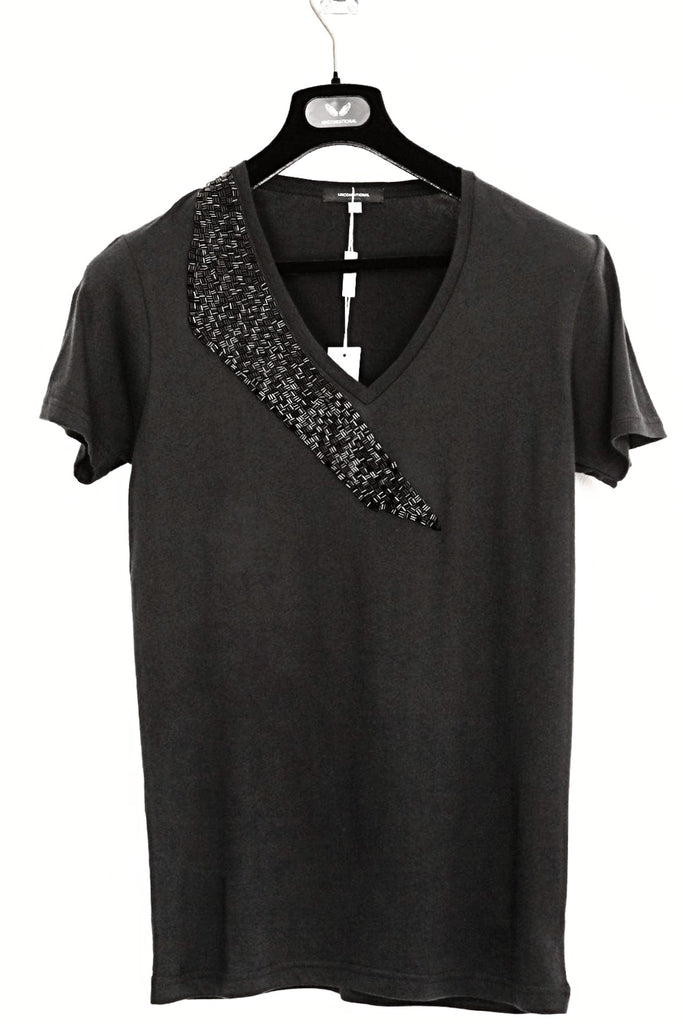 UNCONDITIONAL Black V-neck tee with Black shard neck beading