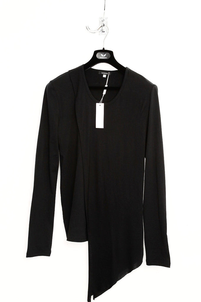 UNCONDITIONAL Black long sleeved crew neck T-shirt with loose drape layer.