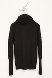 UNCONDITIONAL Black pure cotton knit draped funnel neck hoodie sweater .