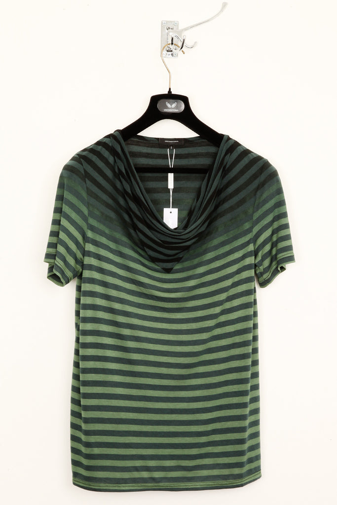 UNCONDITIONAL Dark Green striped drape neckerchief T-shirt with its top dip dyed in black