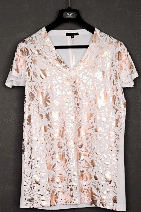UNCONDITIONAL white cotton v-neck T-shirt with copper baroque foiling