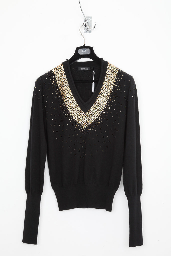UNCONDITIONAL Black cashmere slim fit V-neck jumper with gold hand beading