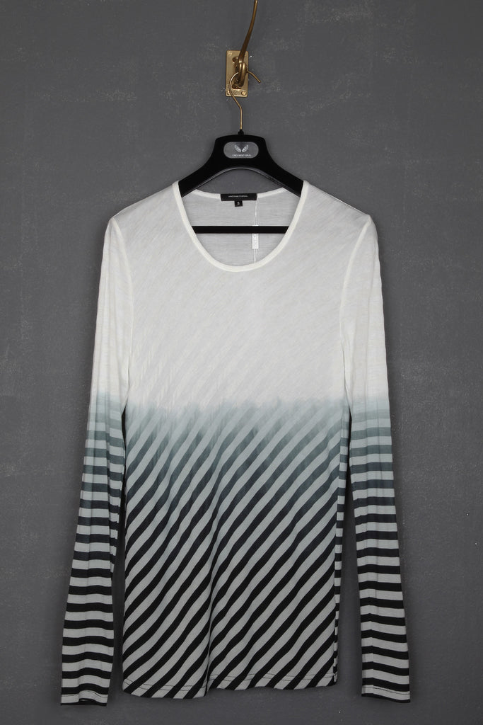 UNCONDITIONAL white stripes with black dip dye round neck long sleeve t-shirt.