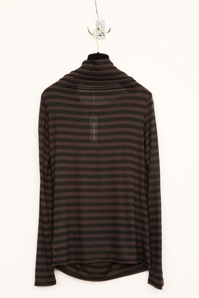 UNCONDITIONAL Black striped caught collar top.