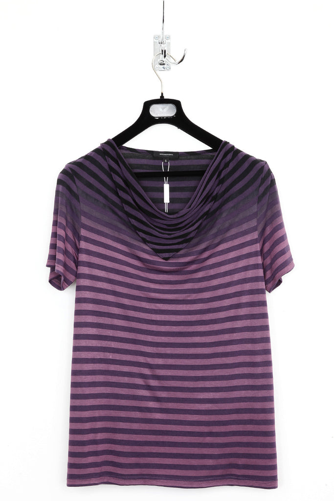 UNCONDITIONAL purple striped drape neckerchief T-shirt with its top dip dyed in black