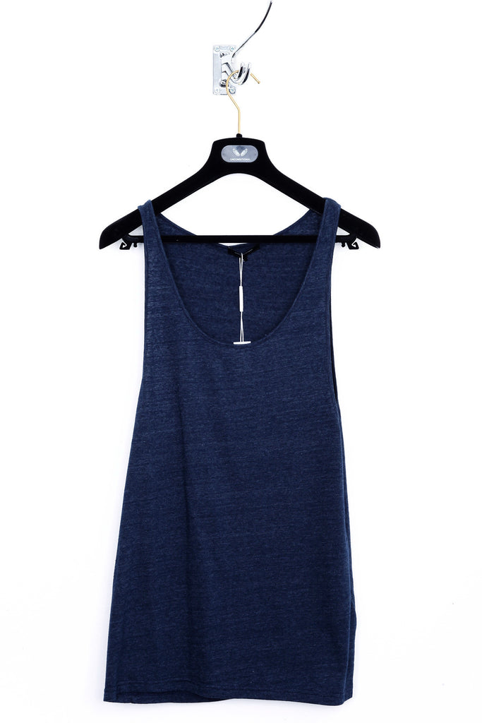 "UNCONDITIONAL navy blue recycled cotton ""wife-beater"" vest."
