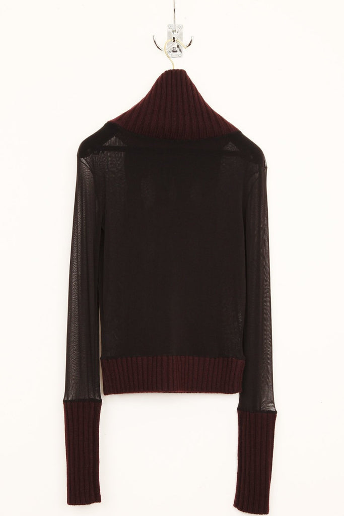 UNCONDITIONAL Black - Burgundy funnel neck mesh jumper with merino contrasts