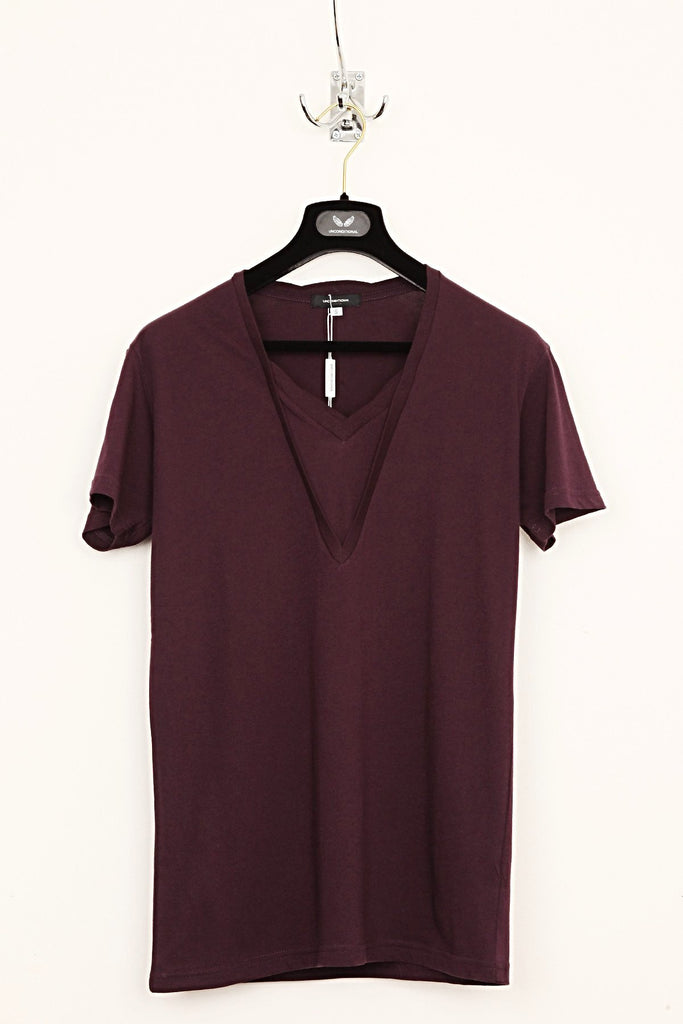 UNCONDITIONAL Berry double v-neck t- shirt with tabs.