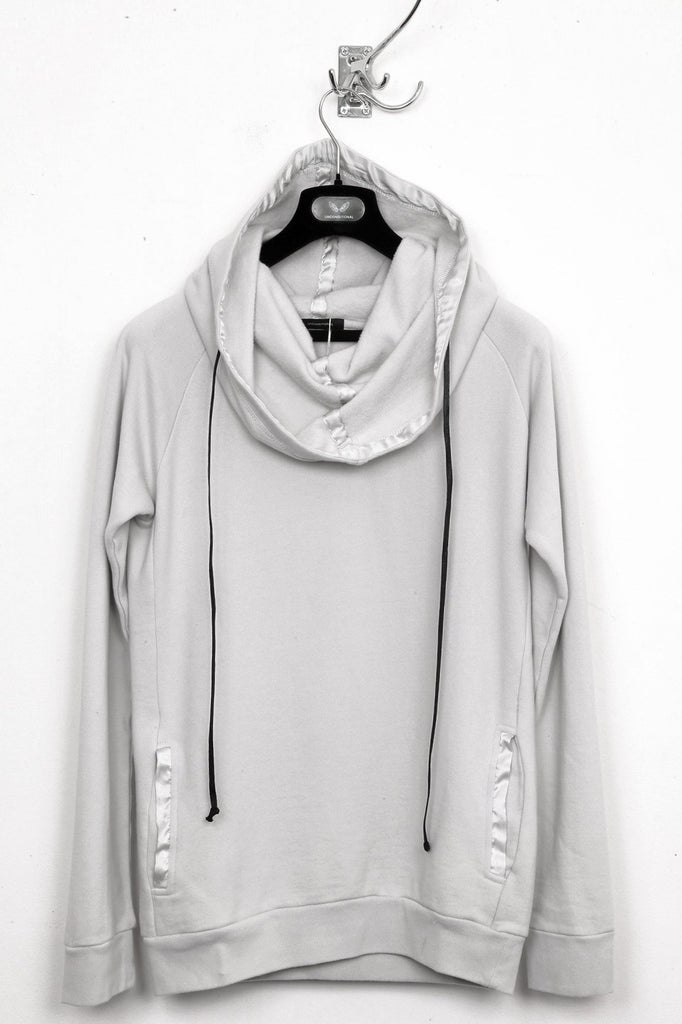 UNCONDITIONAL Dirty White heavy jersey extreme funnel neck jumper.