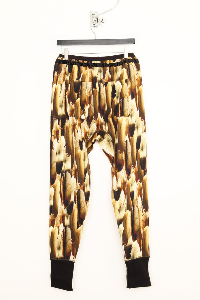 UNCONDITIONAL feather print slim fit sweat shirting trousers.