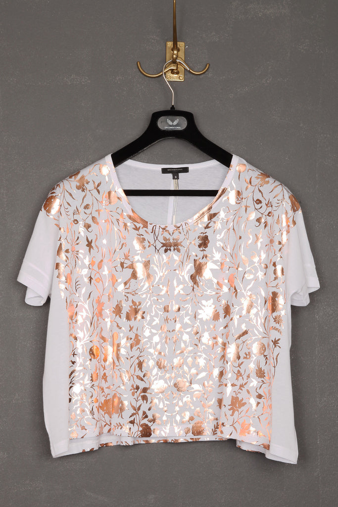 UNCONDITIONAL new cropped oversized white copper foiled T shirt