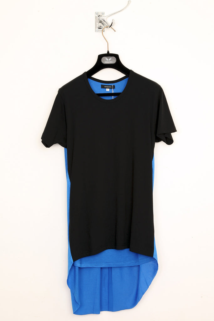 UNCONDITIONAL black and electric blue short sleeve tee with contrast  back tail.