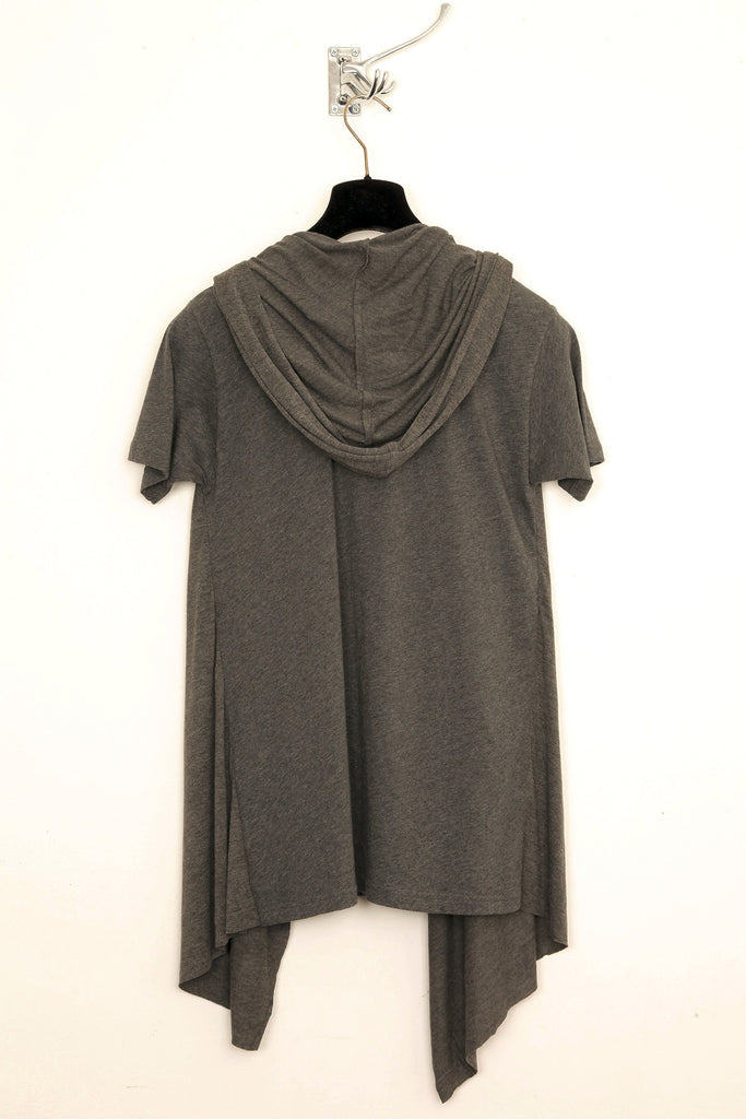 UNCONDITIONAL Military combination jersey hooded drape cape waistcoat T-shirt