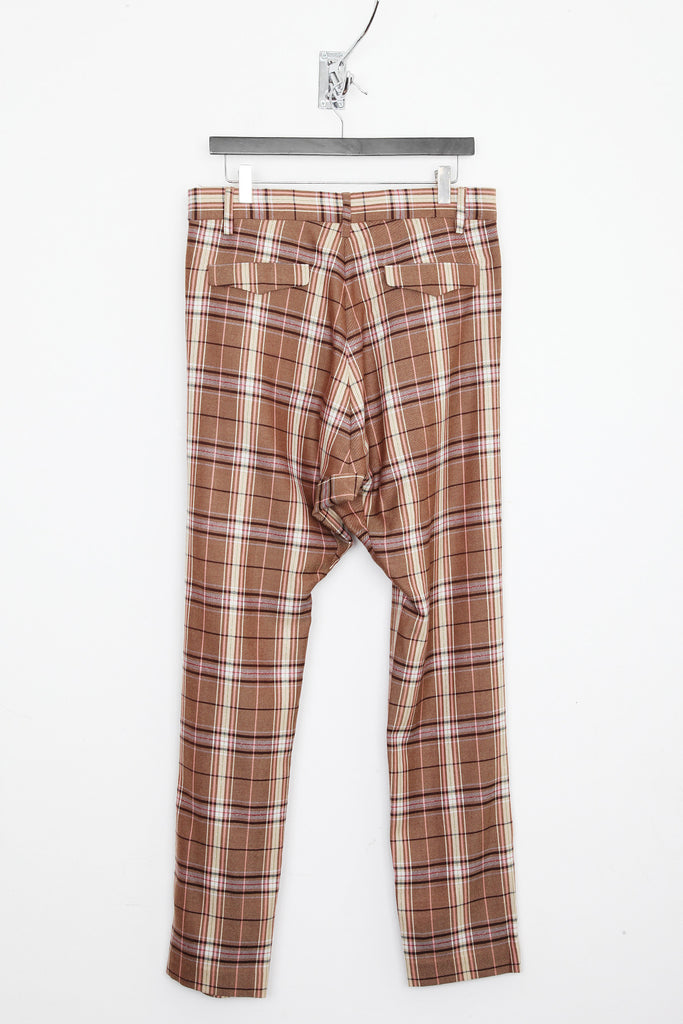 UNCONDITIONAL stone / cream / nude pink  check, pure new wool , drop crotch trousers.