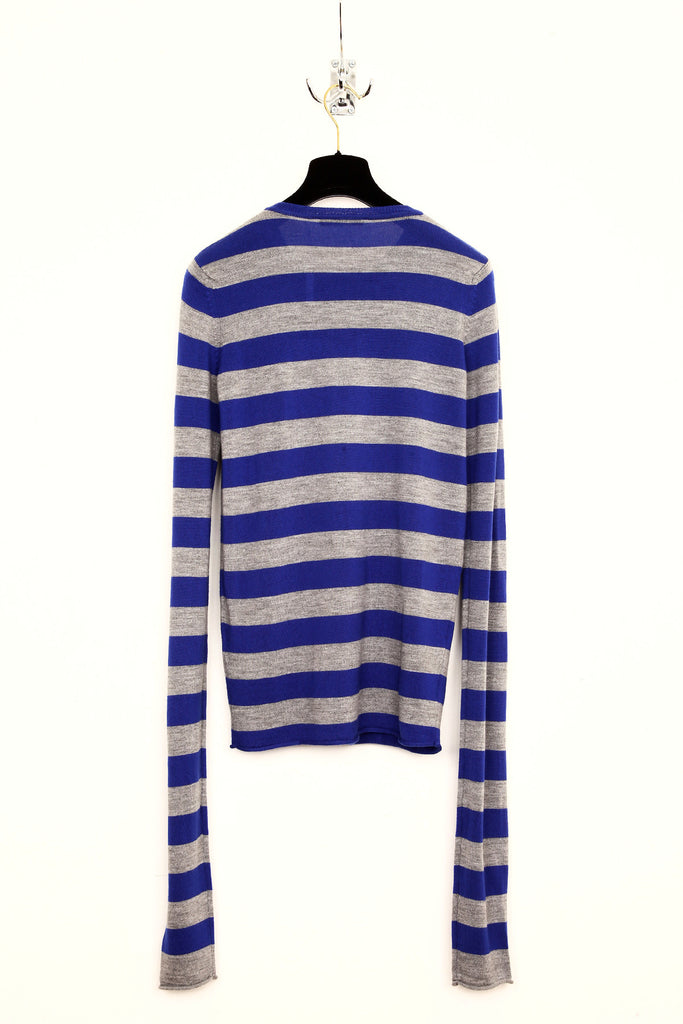 UNCONDITIONAL ELECTRIC BLUE / FLANNEL GREY STRIPE X-LONG SLEEVED MERINO SWEATER
