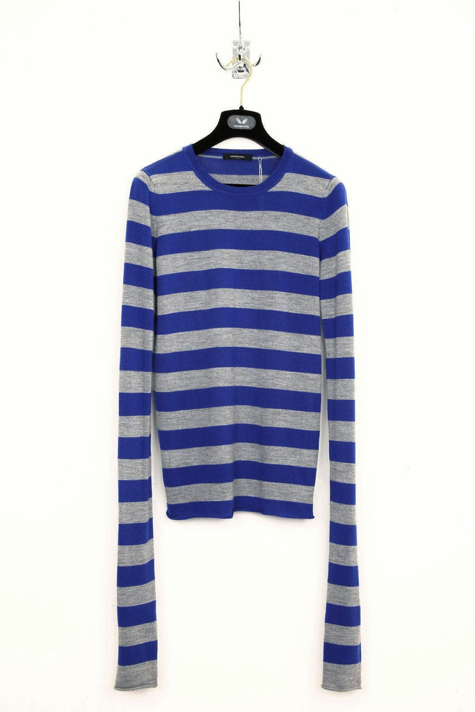UNCONDITIONAL E.BLUE  AND FLANNEL MERINO STRIPED EXTRA LONG SLEEVED JUMPER