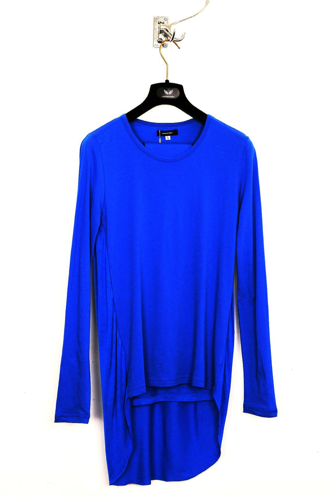 UNCONDITIONAL Electric blue long sleeved, double tail pleat back T-shirt