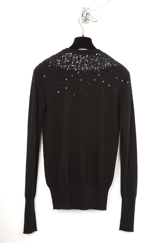 UNCONDITIONAL  Black Cashmere Perfect Crew neck hand beaded jumper.