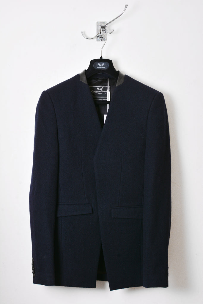 UNCONDITIONAL NAVY BOILED WOOL CUTAWAY TAILORED JACKET