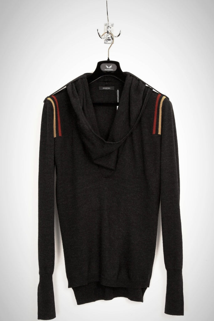 UNCONDITIONAL Anthra ghost hoodie with gold striped epaulettes