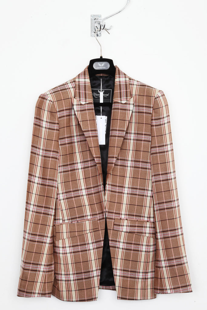 UNCONDITIONAL stone | cream | rust | nude pink check cutaway jacket