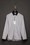 UNCONDITIONAL fine black/white pinstripe shirt with contrast black cuffs and collar