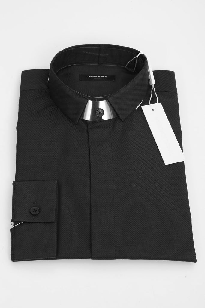 UNCONDITIONAL Black pique small stitched down collar shirt.