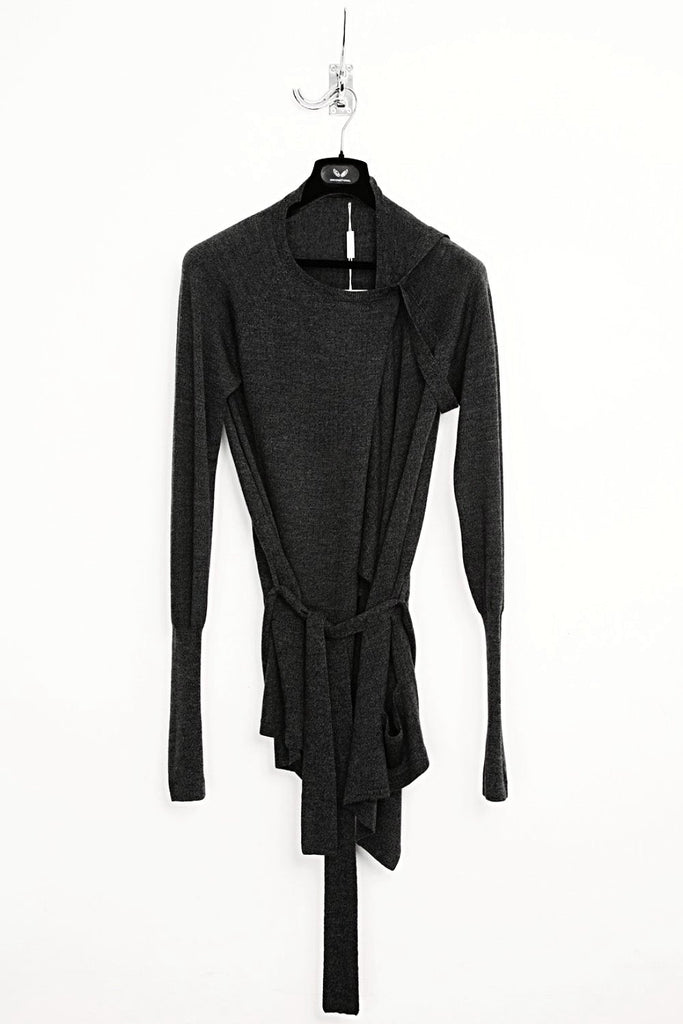 UNCONDITIONAL AW18 Dark Grey Long Sleeved Drape Cardigan