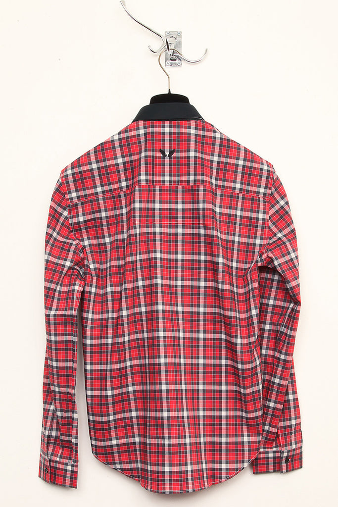 UNCONDITIONAL red , black and cream check shirt with black contrast collar.