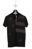 UNCONDITIONAL Black V neck T shirt with silk stars and stripes