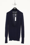 UNCONDITIONAL French Navy loose fine cotton knit sculpture collar neck jumper