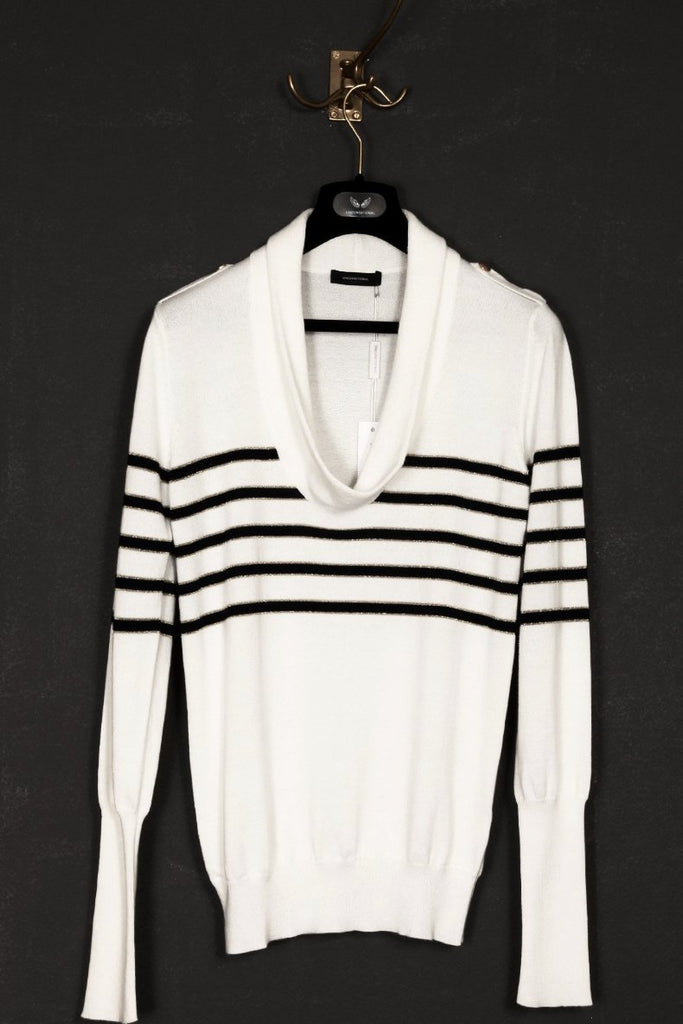 UNCONDITIONAL white cotton sculpture collar jumper with navy and fine gold stripes