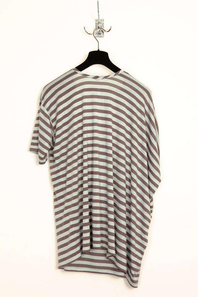 UNCONDITIONAL duck egg and mocha stripe drape pocket oversize t-shirt