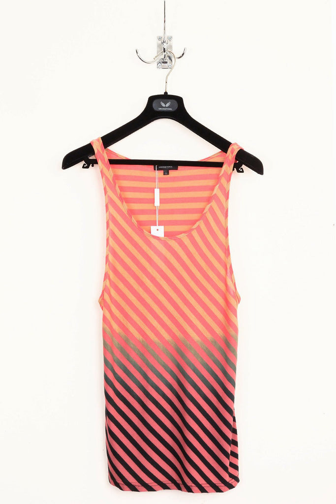 UNCONDITIONAL coral and sand stripe vest with bottom black dipdye