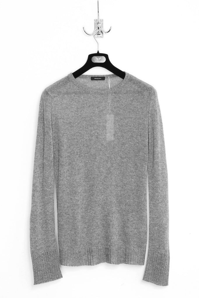 UNCONDITIONAL SS18 Rock grey loose knit round neck silk cashmere sweater